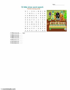 Interactive worksheet 10 little elves word search