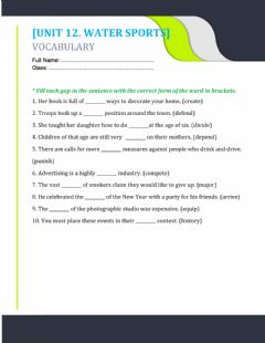 Interactive worksheet Unit 12. word forms