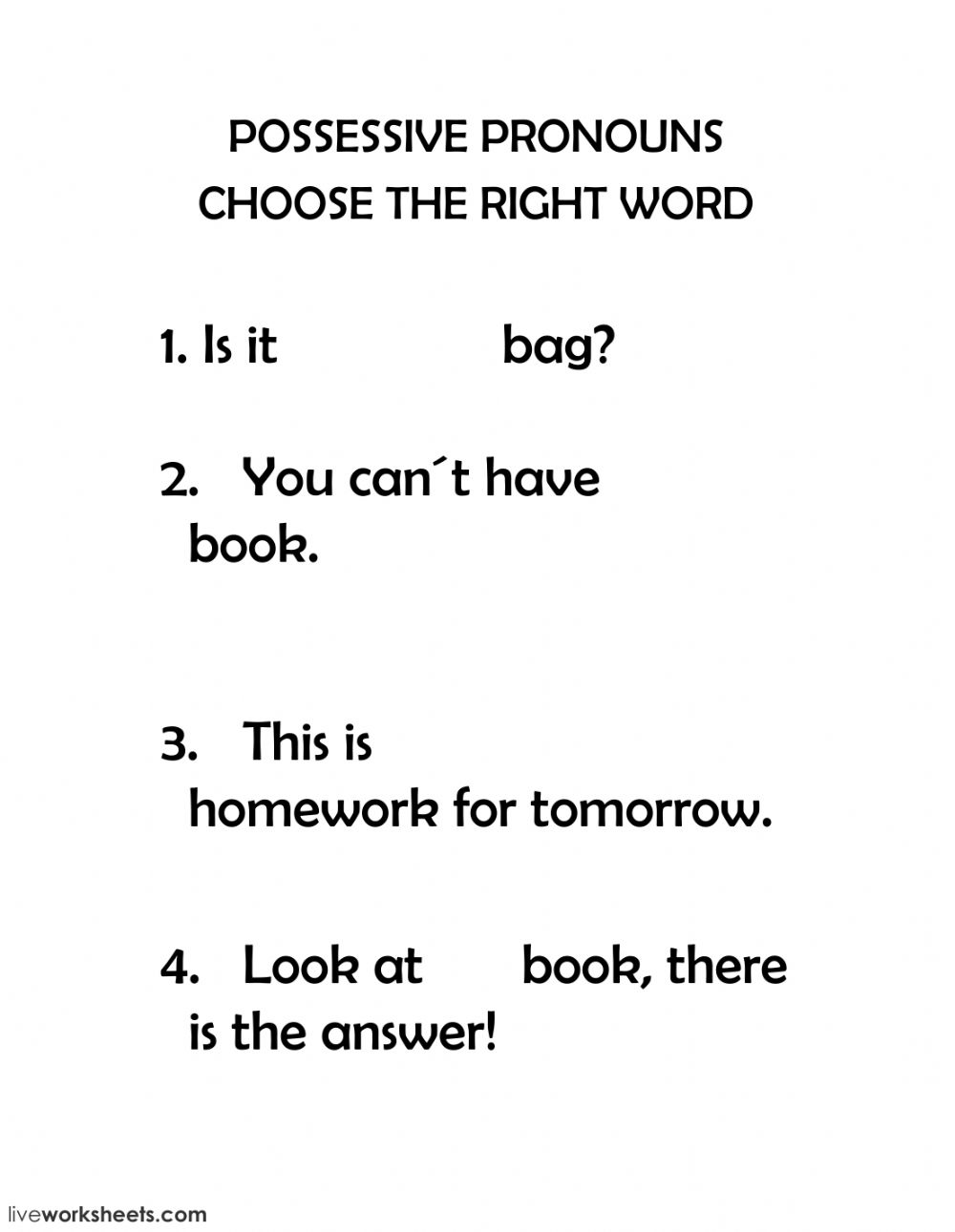 Possessive pronouns: online and pdf worksheet