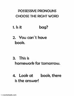 Interactive worksheet Possessive pronouns