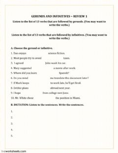 Interactive worksheet Gerunds and infinitves