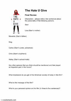 Interactive worksheet The Hate U Give - Final Review