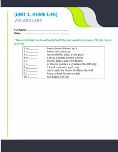 Interactive worksheet Unit 1. home life (collocations)