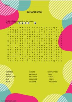 Ficha interactiva Wordsearch personal letter