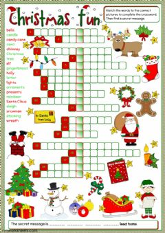Christmas fun - crossword worksheet preview
