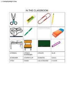 objects in the classroom worksheet preview
