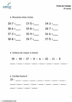 Interactive worksheet Matematicas 1º