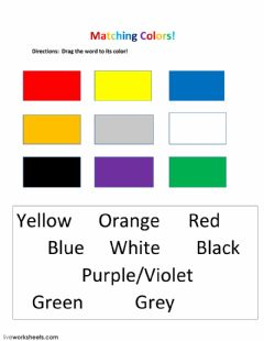 Interactive worksheet Matching Colors