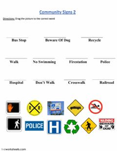 Interactive worksheet Community Signs 2