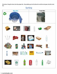 Interactive worksheet Sorting Recyclables