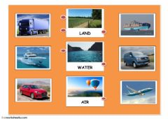 Interactive worksheet land, air, water
