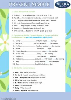Present Simple worksheet preview