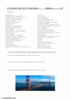 Interactive worksheet A Day in St.Francisco