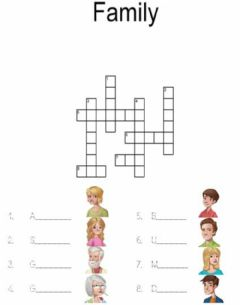 Interactive worksheet crossword. family