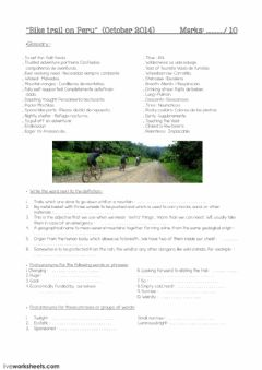 Interactive worksheet Bike trail on Peru