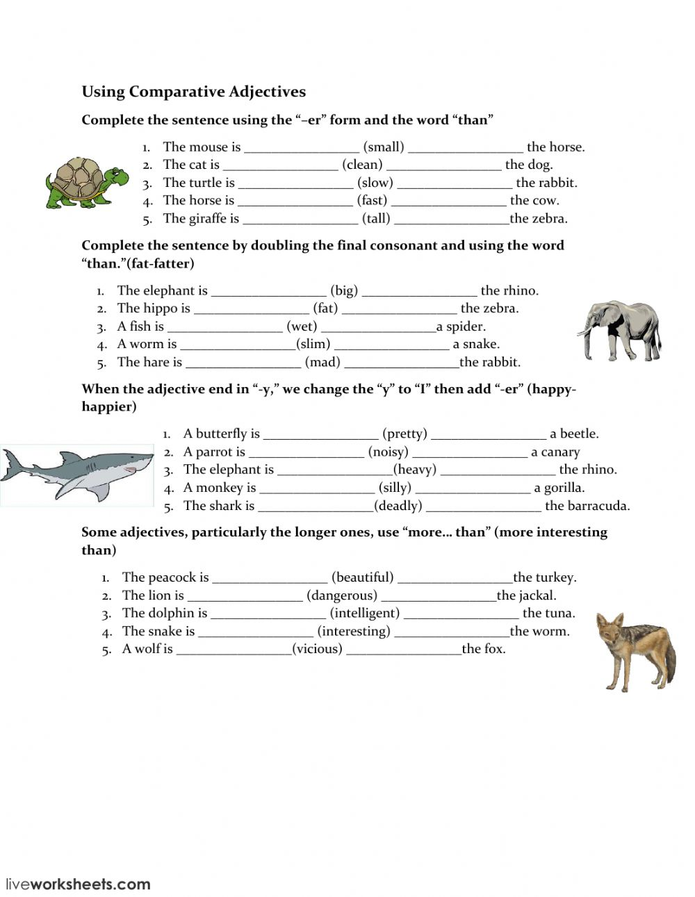 worksheet Worksheets On Comparative Adjectives using comparative adjectives interactive worksheet text