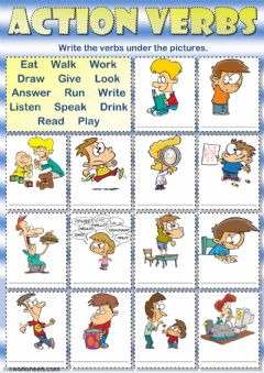 interactive worksheet action verbs writing