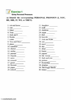 Interactive worksheet Subject Pronoun