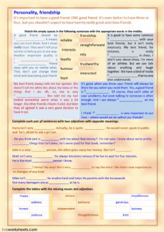 Interactive worksheet Personality