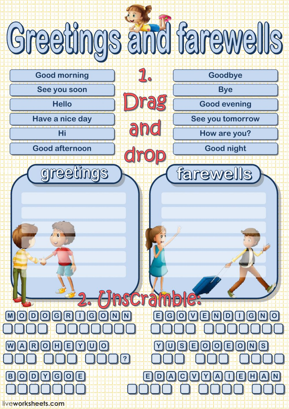 Greetings And Farewells Interactive Worksheet