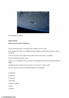 Interactive worksheet Natural disasters
