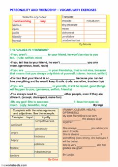 Interactive worksheet Personality-friendship part1