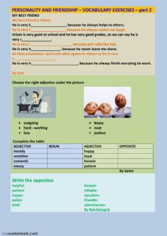Interactive worksheet PERSONALITY-FRIENDSHIP PART 2