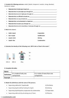 Interactive worksheet Matter and materials