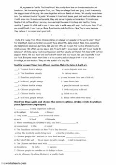 Interactive worksheet New dishes from different countries