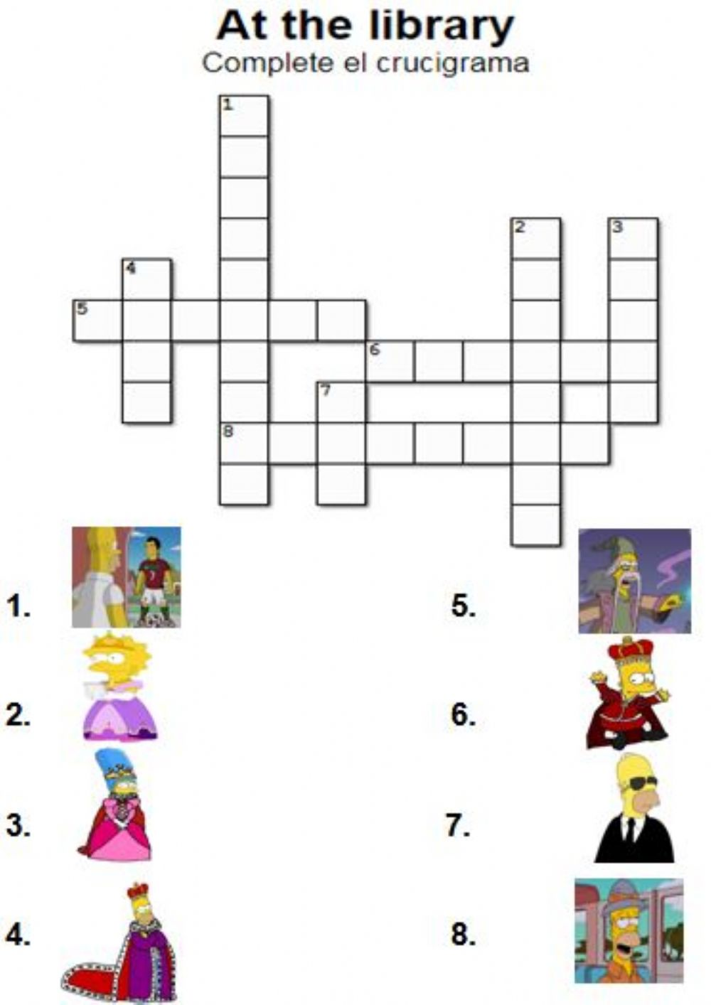 graphic relating to Work Sheet Library named At the library. Crossword - Interactive worksheet