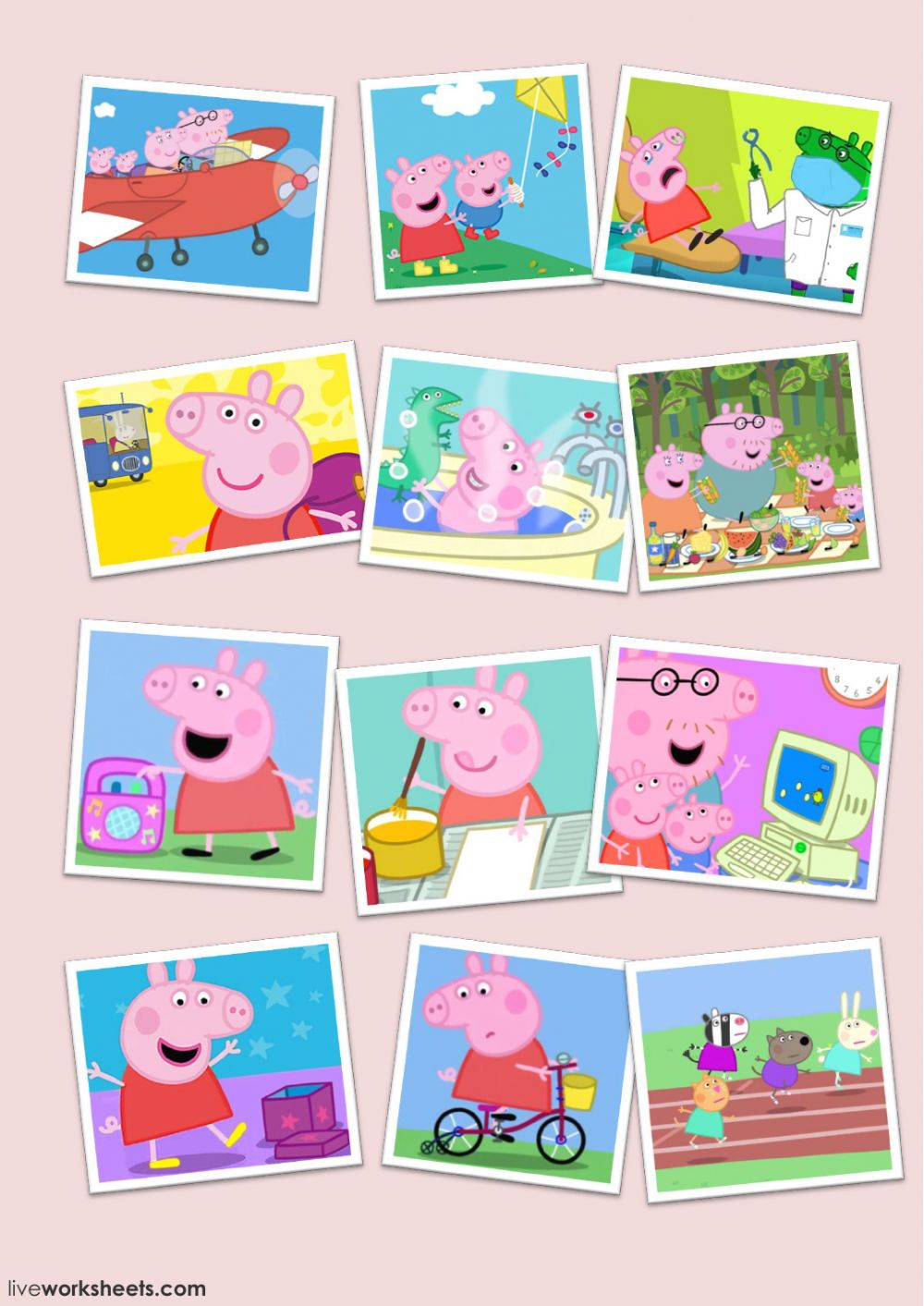 Learn YourVerbs With Peppa Pig - Interactive worksheet