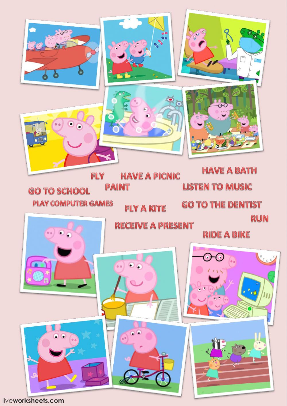 Learn Yourverbs With Peppa Pig Match Interactive Worksheet