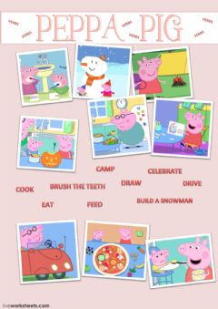 Ficha interactiva Learn YourVerbs With Peppa Pig-Match