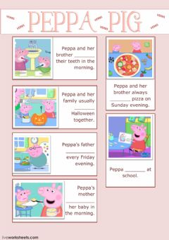 Ficha interactiva Learn YourVerbs With Peppa Pig - Cloze