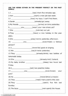 Interactive worksheet The present perfect and the past simple