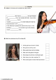Interactive worksheet Test with daily routine