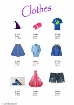 Interactive worksheet Clothes - multiple choice
