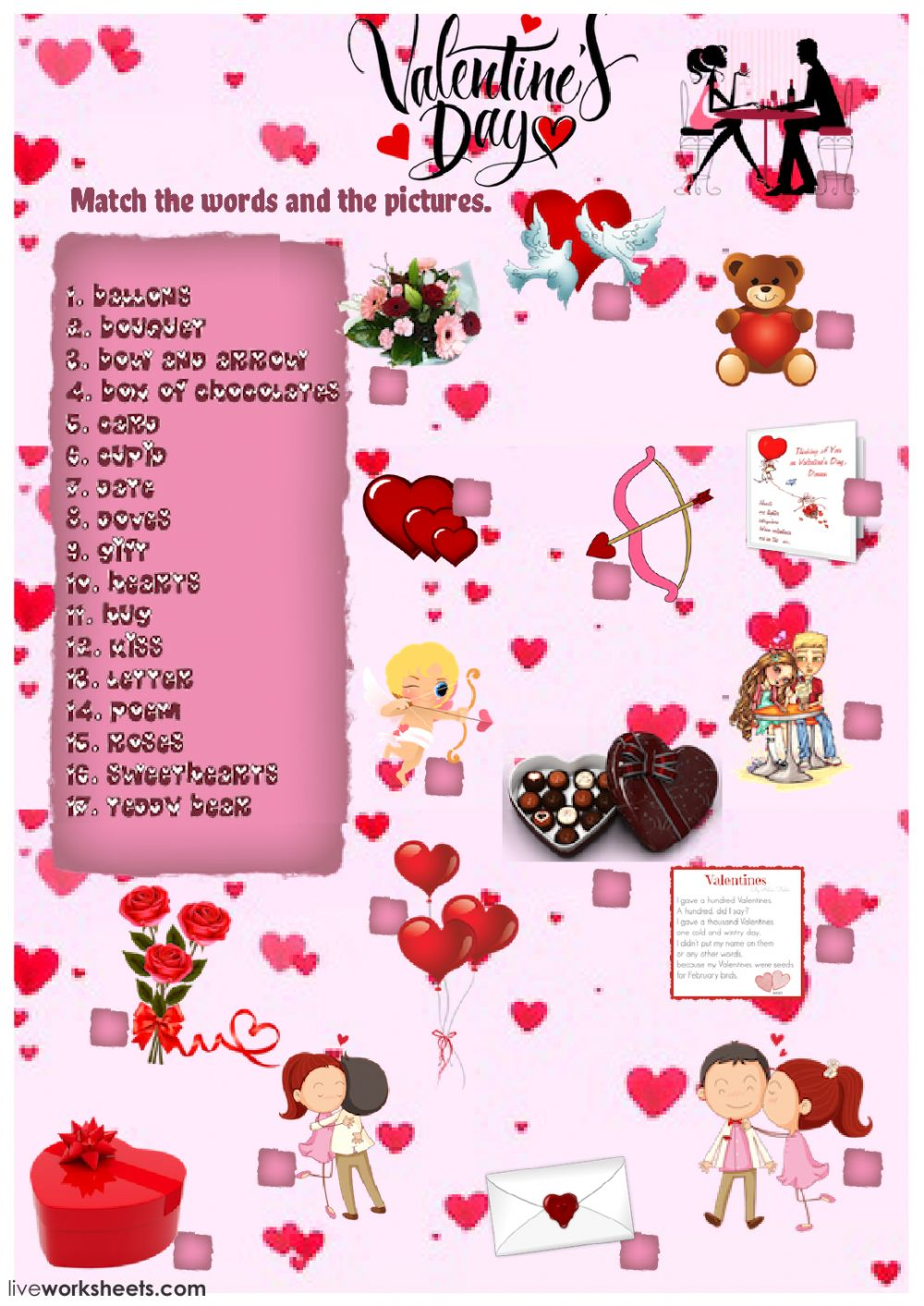 valentine 39 s day vocabulary interactive worksheet. Black Bedroom Furniture Sets. Home Design Ideas