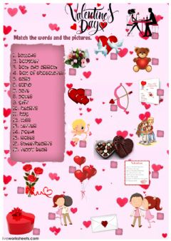 Valentine's Day vocabulary worksheet preview