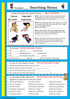 Describing Heroes worksheet preview