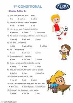 Interactive worksheet 1st Conditional B class