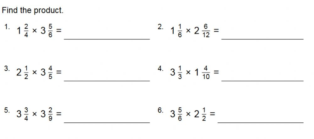 Multiplying Mixed Numbers Interactive Worksheet