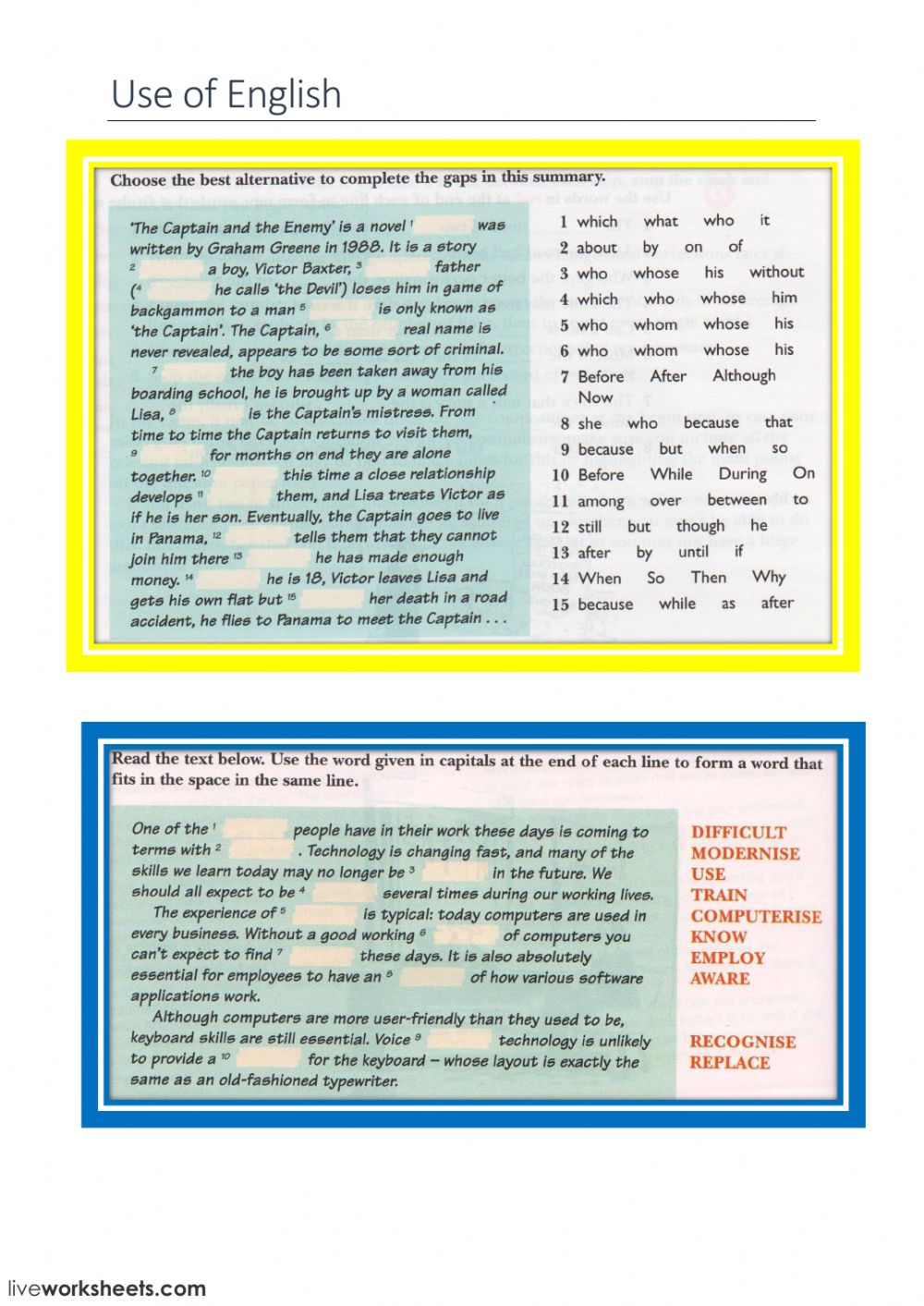 Use of English (books- computers) - Interactive worksheet
