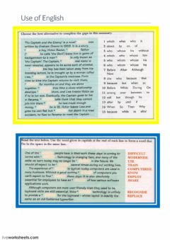 Interactive worksheet Use of English (books- computers)