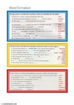 Interactive worksheet Word formation 1