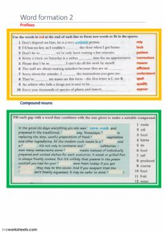 Ficha interactiva Word formation - prefixes - compound nouns