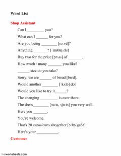 Interactive worksheet INTERACTIVE SHOPPING