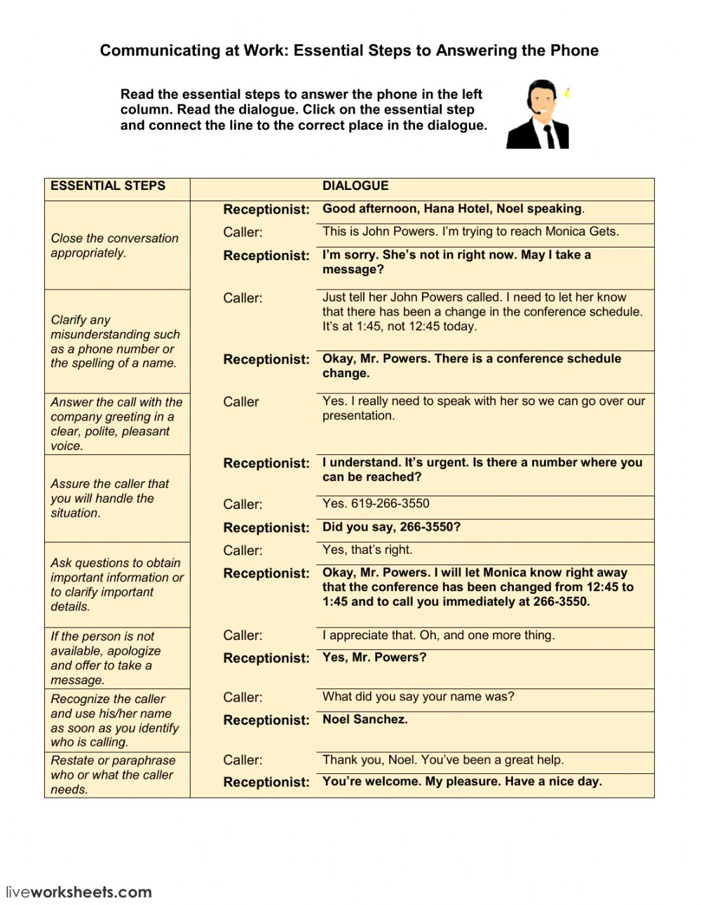 Phone Calls At Work Taking A Message Interactive Worksheet