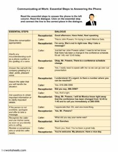 Phone Calls at Work: Taking a Message worksheet preview