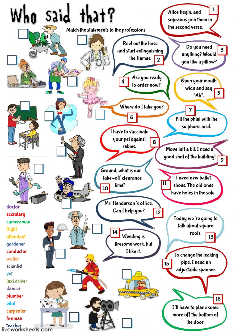 Who said that? - jobs - Interactive worksheet
